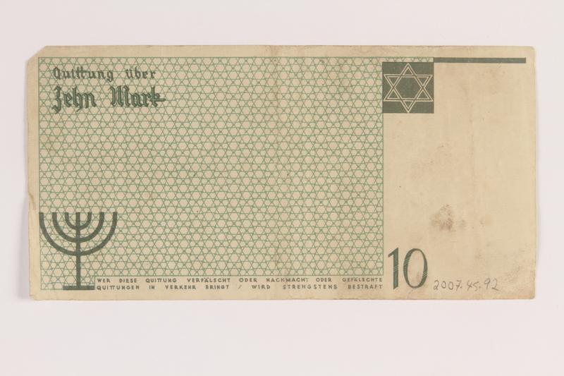 2007.45.92 back Łódź (Litzmannstadt) ghetto scrip, 10 mark note