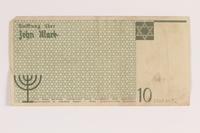 2007.45.92 back Łódź (Litzmannstadt) ghetto scrip, 10 mark note  Click to enlarge