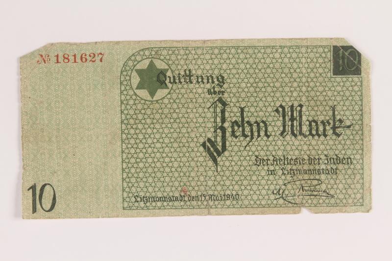 2007.45.93 front Łódź (Litzmannstadt) ghetto scrip, 10 mark note
