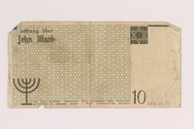 2007.45.93 back Łódź (Litzmannstadt) ghetto scrip, 10 mark note