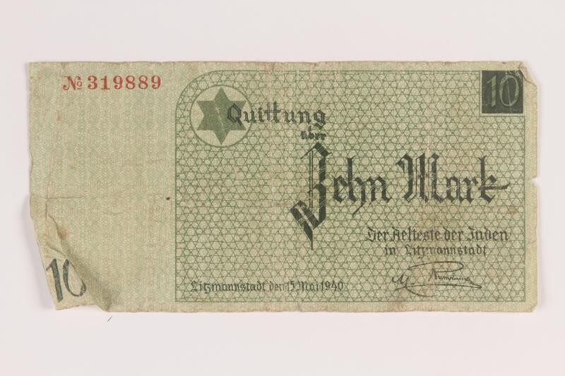 2007.45.94 front Łódź (Litzmannstadt) ghetto scrip, 10 mark note