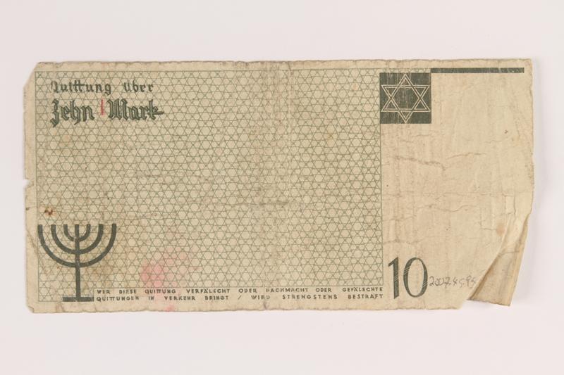 2007.45.94 back Łódź (Litzmannstadt) ghetto scrip, 10 mark note