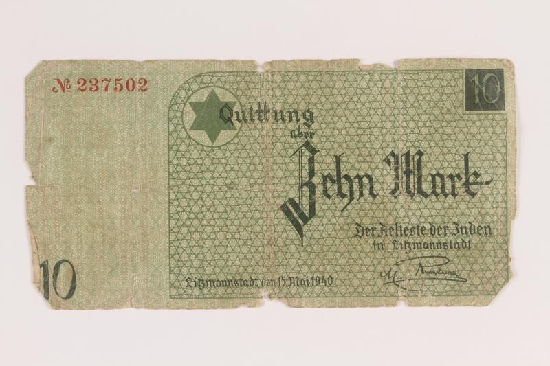 2007.45.95 front Łódź (Litzmannstadt) ghetto scrip, 10 mark note