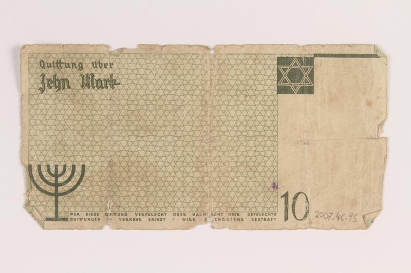 2007.45.95 back Łódź (Litzmannstadt) ghetto scrip, 10 mark note