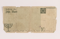 2007.45.95 back Łódź (Litzmannstadt) ghetto scrip, 10 mark note  Click to enlarge