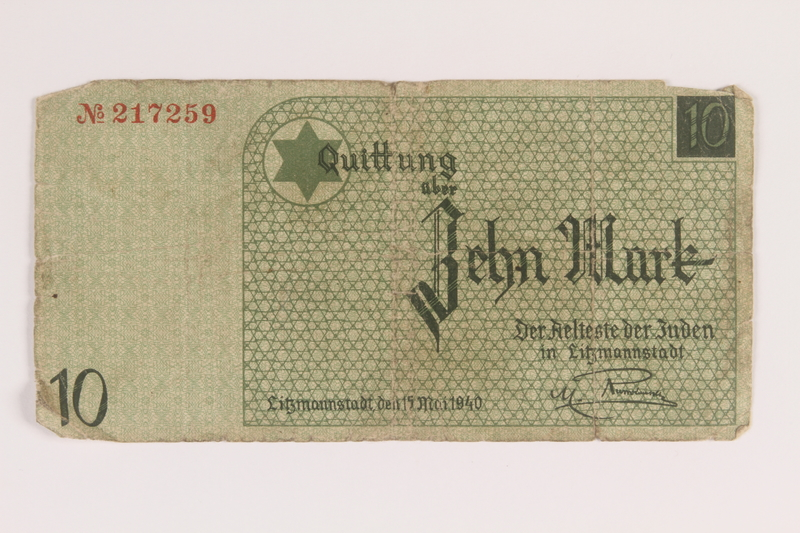 2007.45.96 front Lodz (Litzmannstadt) ghetto scrip, 10 mark note