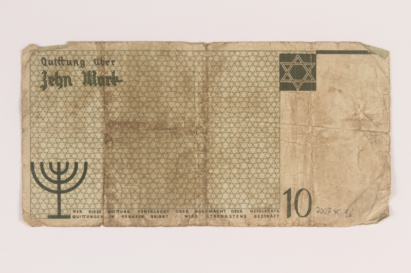 2007.45.96 back Lodz (Litzmannstadt) ghetto scrip, 10 mark note