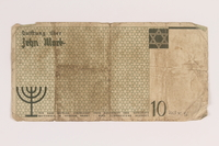 2007.45.96 back Lodz (Litzmannstadt) ghetto scrip, 10 mark note  Click to enlarge