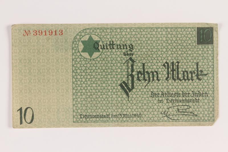 2007.45.97 front Lodz (Litzmannstadt) ghetto scrip, 10 mark note