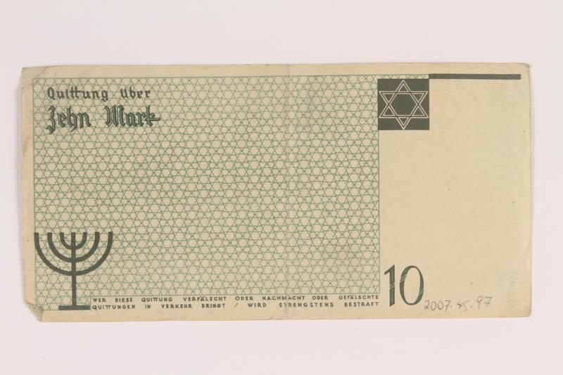2007.45.97 back Lodz (Litzmannstadt) ghetto scrip, 10 mark note