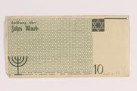 2007.45.97 back Lodz (Litzmannstadt) ghetto scrip, 10 mark note  Click to enlarge