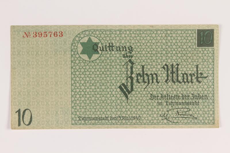 2007.45.98 front Łódź (Litzmannstadt) ghetto scrip, 10 mark note