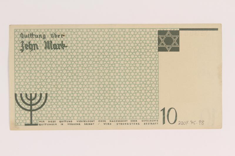 2007.45.98 back Łódź (Litzmannstadt) ghetto scrip, 10 mark note