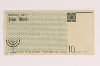 2007.45.98 back Łódź (Litzmannstadt) ghetto scrip, 10 mark note  Click to enlarge