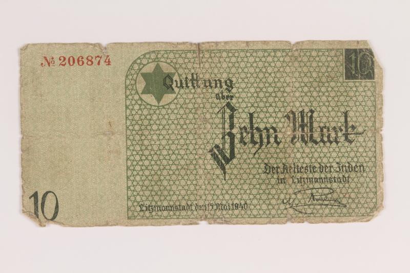 2007.45.99 front Łódź (Litzmannstadt) ghetto scrip, 10 mark note