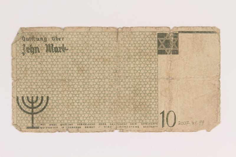 2007.45.99 back Łódź (Litzmannstadt) ghetto scrip, 10 mark note