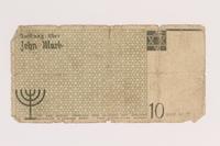 2007.45.99 back Łódź (Litzmannstadt) ghetto scrip, 10 mark note  Click to enlarge