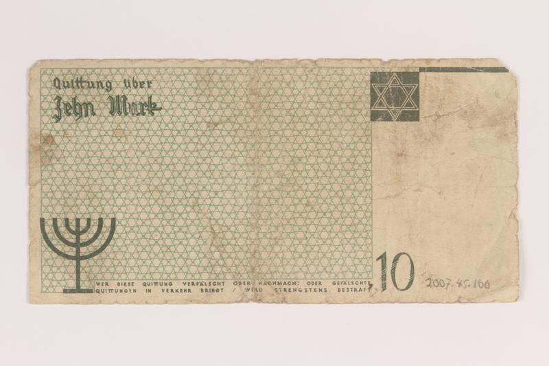 2007.45.100 back Lodz (Litzmannstadt) ghetto scrip, 10 mark note