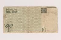2007.45.100 back Lodz (Litzmannstadt) ghetto scrip, 10 mark note  Click to enlarge