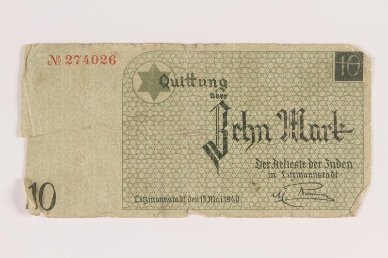 2007.45.101 front Łódź (Litzmannstadt) ghetto scrip, 10 mark note