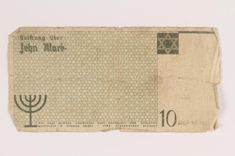 2007.45.101 back Łódź (Litzmannstadt) ghetto scrip, 10 mark note