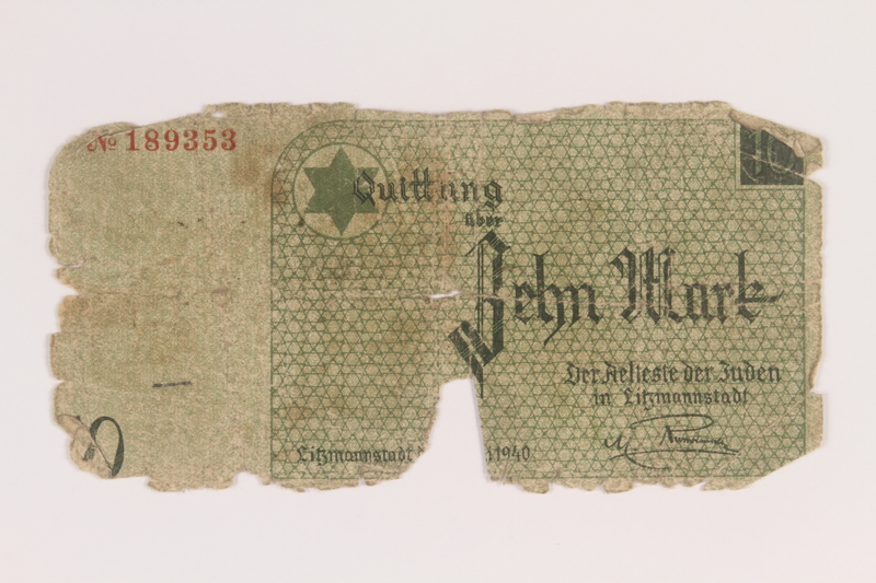 2007.45.102 front Lodz (Litzmannstadt) ghetto scrip, 10 mark note