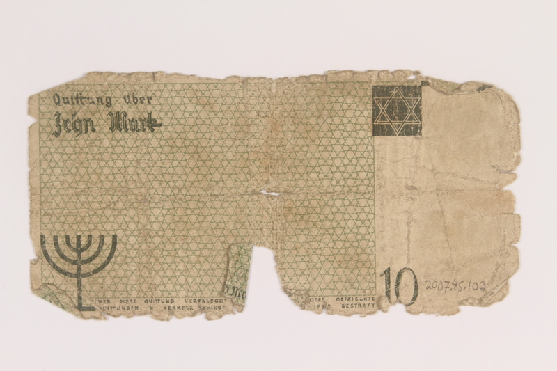 2007.45.102 back Lodz (Litzmannstadt) ghetto scrip, 10 mark note