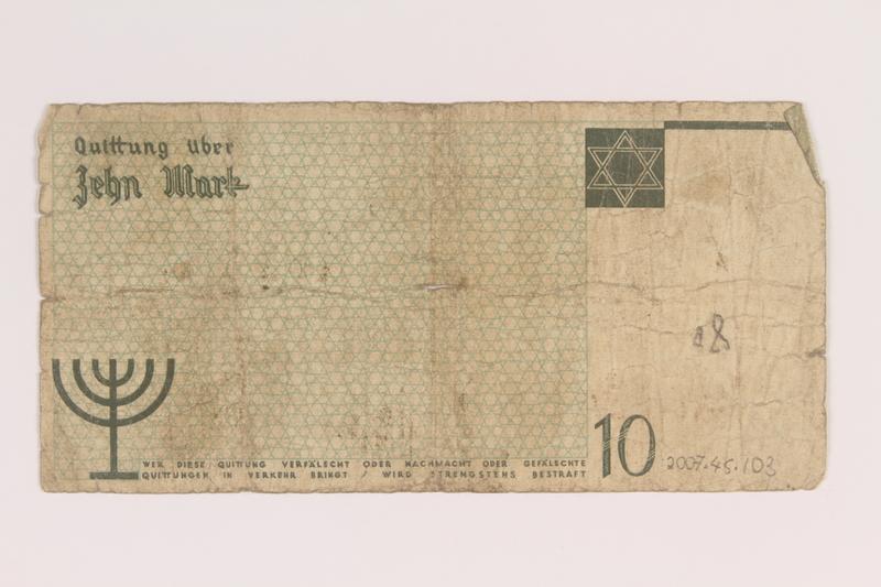 2007.45.103 back Lodz (Litzmannstadt) ghetto scrip, 10 mark note