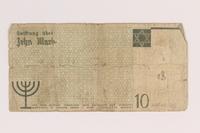 2007.45.103 back Lodz (Litzmannstadt) ghetto scrip, 10 mark note  Click to enlarge