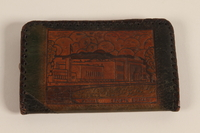 2007.101.7 back Monogrammed black and tan laced leather wallet used by a German Jewish refugee  Click to enlarge