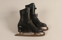 2007.101.13 a-b front Pair of black leather lace-up ice skates owned by a German Jewish refugee  Click to enlarge