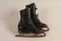 Pair of black leather lace-up ice skates owned by a German Jewish refugee