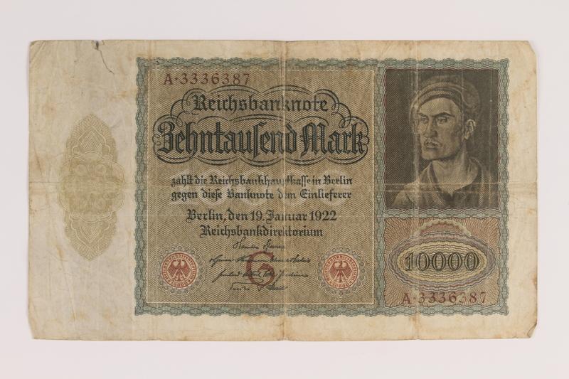 2007.151.3 front Weimar Germany Reichsbanknote, 10,000 marks