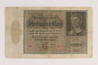 2007.151.3 front Weimar Germany Reichsbanknote, 10,000 marks  Click to enlarge