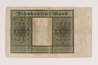 2007.151.3 back Weimar Germany Reichsbanknote, 10,000 marks  Click to enlarge
