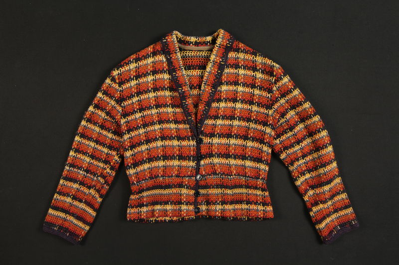 2007.176.2 front Multi-colored crocheted sweater received in a forced labor camp