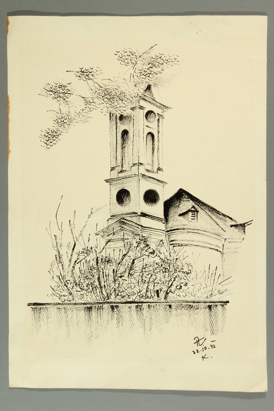 2007.177.3 front Ink and pencil drawing of a church in Theresienstadt ghetto/labor camp by an inmate