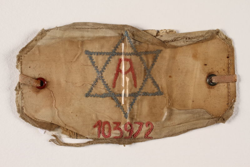 2007.199.2 front Arbeitsjude [Jewish worker] armband with a Star of David worn in the Boryslaw labor camp