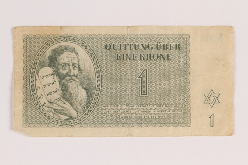 2007.237.2 front Theresienstadt ghetto-labor camp scrip, 1 krone note