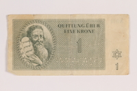 2007.237.2 front Theresienstadt ghetto-labor camp scrip, 1 krone note  Click to enlarge