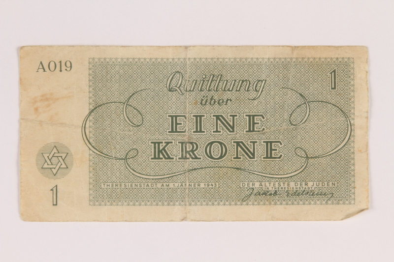 2007.237.2 back Theresienstadt ghetto-labor camp scrip, 1 krone note