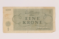 2007.237.2 back Theresienstadt ghetto-labor camp scrip, 1 krone note  Click to enlarge