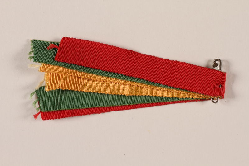 2007.205.12 front Boy Scout ribbons in yellow, green, and red worn by a Jewish refugee in Shanghai