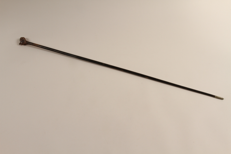 2001.324.1 front Walking stick with a knob shaped as the head of a Jewish man in a yarmulke