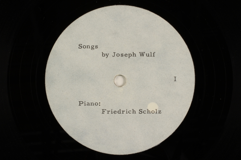 2002.190.1 detail Joseph Wulf phonograph records