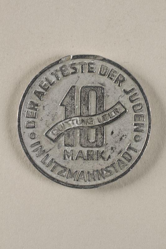 2001.278.1 back Łódź (Litzmannstadt) ghetto scrip, 10 mark coin