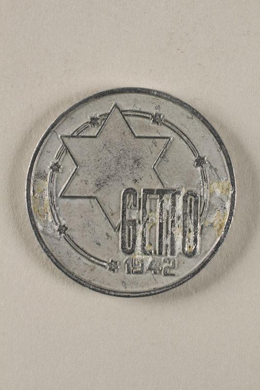 2001.278.1 front Łódź (Litzmannstadt) ghetto scrip, 10 mark coin