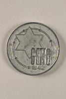 2001.278.1 front Łódź (Litzmannstadt) ghetto scrip, 10 mark coin  Click to enlarge