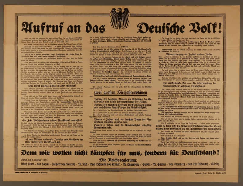 2002.178.10 front 1933 Nazi Party election poster