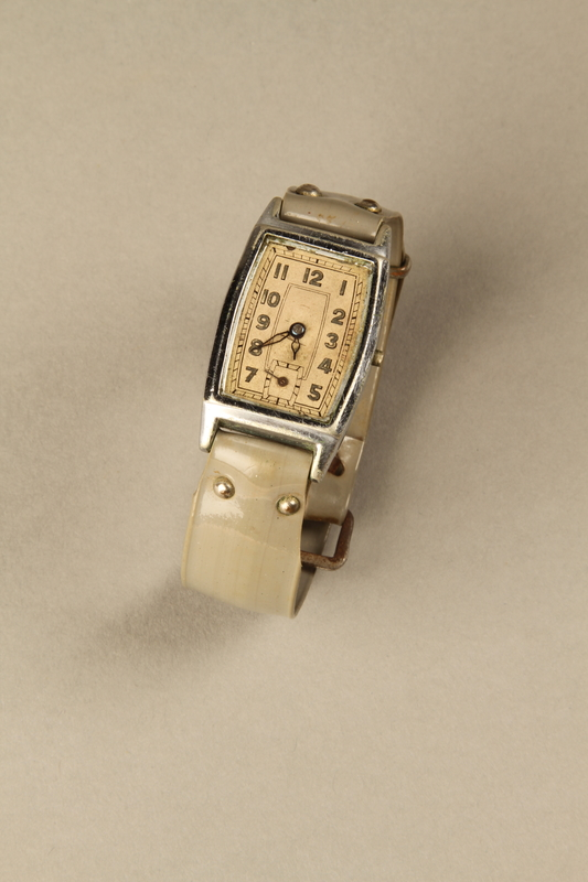 2002.270.2 front Wrist watch with a gray plastic band